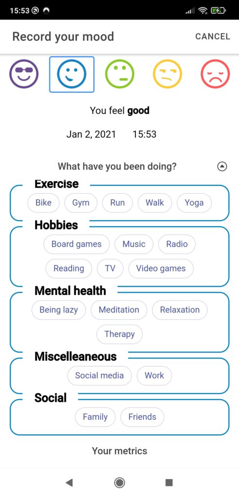 Recording activities and moods with the Wellburrito mood tracking app